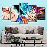Home decoration painting Drucke auf Leinwand 5 Panels Cartoon Anime Dragon Ball Z Goku Print Wall Art Modern Artwork Dekoration,A,30x45x2+30x60x2+30x76x1