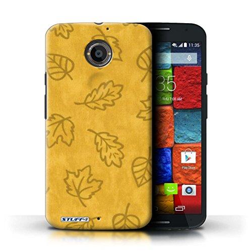 Kobalt® Imprimé Etui / Coque pour Motorola Moto X (2014) / Rouge conception / Série Motif Feuille/Effet Textile Jaune