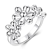 Thumby Copper Silver Plated 5.6g Romantic Flower Ring for Women,8