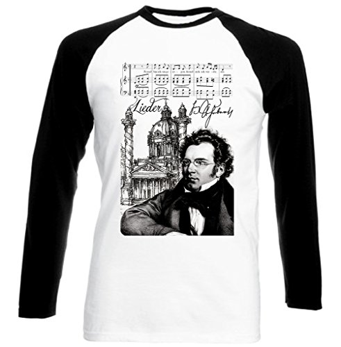 Teesquare1st Men's FRANZ SCHUBERT COMPOSER Black Long Sleeved T-shirt