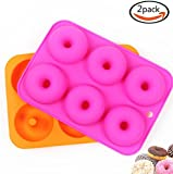 Goodlucky365 (2 Pcs) 6 Silicone Cake Moulds, Donut Moulds, Doughnut Chocolate Soap Candy Jelly Mold Baking Pan, Suitable for Dishwasher, Oven, Microwave, Freezer