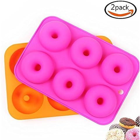 Goodlucky365 (2pz) Teglia con stampo di Silicone per 6-Ciambelle /Stampo antiaderente/Può essere usata in lavastoviglie, Forno, Forno a microonde e Congelatore
