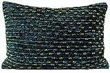 de Luxe Bling étincelant perlé rayé velours épais bleu COUSSIN OREILLER jeté Housse 35 x 50 cm