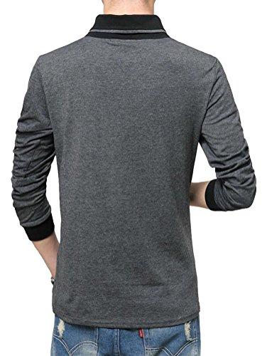 SMITHROAD Herren leicht Langarm Shirt Sweatshirt Tops Schalkragen XS bis 3XL Grau