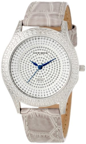 Akribos XXIV Women's AKR464GY Diamond Grey Brilliance Stainless Steel Watch with Calfskin Band