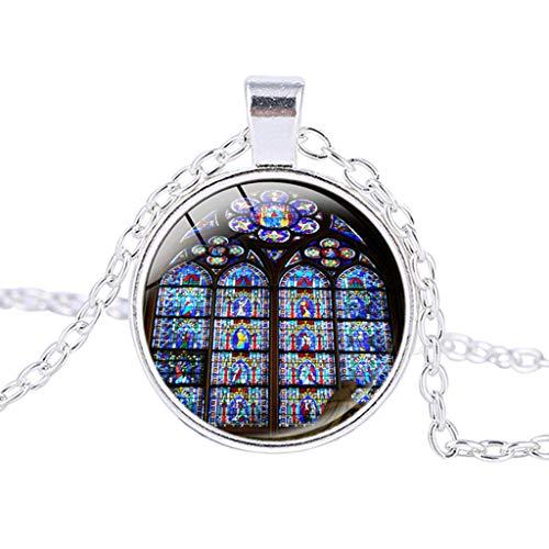 Halskette Damen Anhänger Kette Damen Halskette Schmuck Anhänger Ausverkauf Rose Window Glasmalerei de Paris Kathedrale Anhänger Halskette Mode