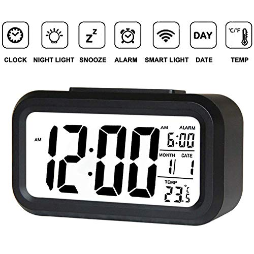 Smartone Digital Alarm Clock for Home Bedroom with Smart Automatic Sensor Backlight LCD Screen,Date & Temperature for Students Desk Table, Black