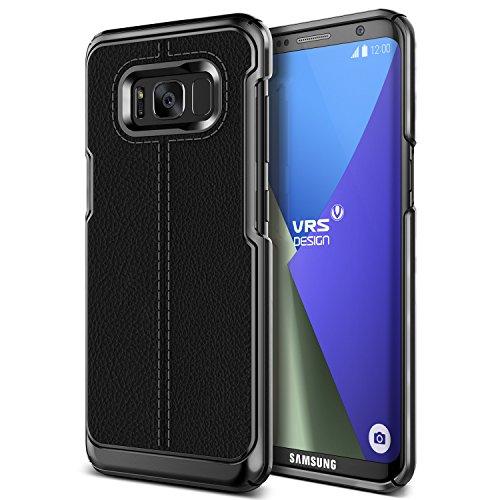 Galaxy S8 Plus Hülle, VRS Design® Leder Schutzhülle [Schwarz] Handytasche Slim Case mit Echt-Leder Außenseite Ledertasche [Simpli Mod] für Samsung Galaxy S8 Plus 2017