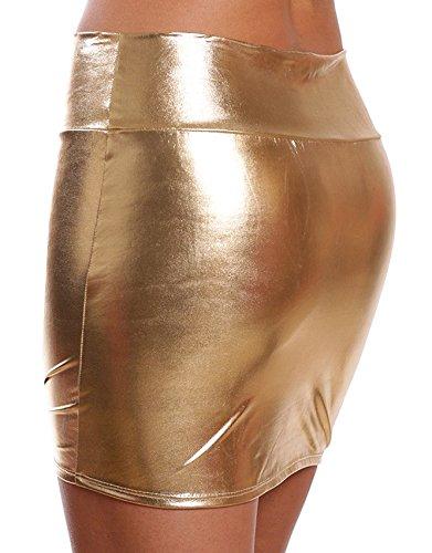 DELEY Donna Lucido Metallizzato Liquido WetLook Clubwear Parte Breve Mini Gonne Oro