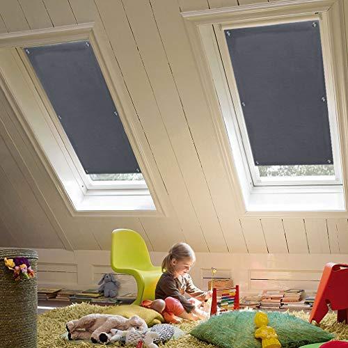 KINLO Dachfensterrollo 57 x 100cm Dunkelgrau Thermo Sonnenschutz Verdunkelungsrollo für Velux Dachfenster UV Schutz mit Saugnäpfe ohne Bohren