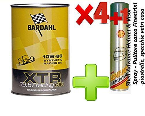 OLIO motore auto- Bardahl XTR 39.67 Racing c60 10W-60 -formulato per motori racing o di elevata potenza - Offerta 4 Litri + Shell Advance Helmet & Visor Spray - Pulitore casco - Finestrini auto - piastrelle, specchi e vetri cas