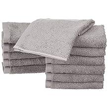 AmazonBasics Cotton Washcloths - 12-Pack, Grey