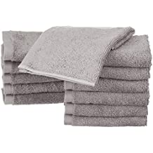 AmazonBasics - Waschlappen aus Baumwolle, 12er-Pack, Grau