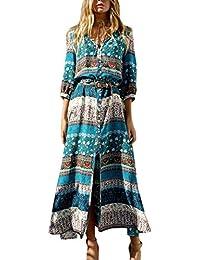 172e5dcdb Estampado Floral Manga Larga Mujer Bohemia Tunic Swing Maxi Vestido De  Fiesta