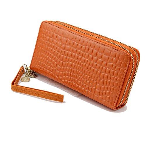 Donna Grande Capacità Portafoglio Borsa Carta Organizzatore Lungo Portamonete Borsello Rosso Orange