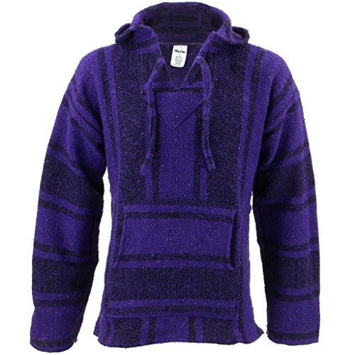 Mexican Baja Jerga purple and black hooded hippie top