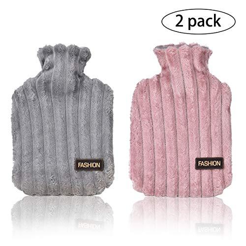 Wuudi 2 Wärmflasche mit weichem Bezug 1L Wärmeflaschen Abnehmbare und waschbare mit Super Soft Plüschbezug (Grau und Dunkelrosa)