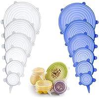 Tapas elásticas de silicona (12 unidades) - varios tamaños de cubiertas de ahorro de alimentos reutilizables y duraderas y ampliables para mantener los alimentos frescos