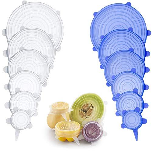 Aperil coperchi in silicone stretch 12-pack di varie dimensioni, espandibile eduraturo,resistente alla lavastoviglie, al freezer e al forno
