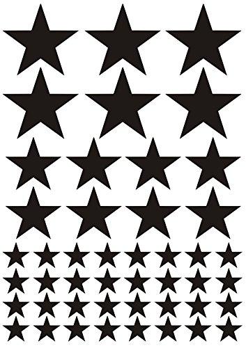 das-label 46 Sterne schwarz | Indoor matt | unterschiedliche Größen | Valentinstag | Weihnachten | Muttertag | Scrapbook | Geburtstag | Geschenke | zum bekleben von Autos | Tüten | Geschenkkartons