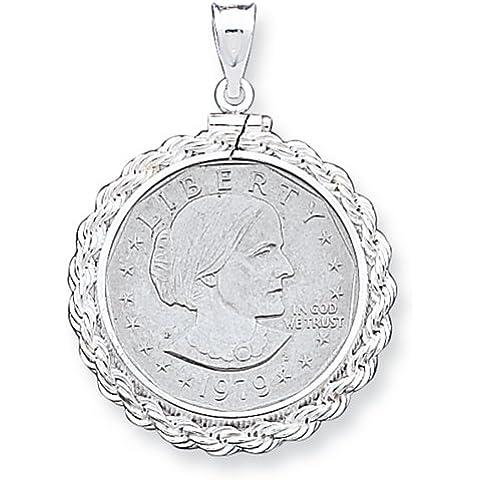 Icecarats Designer Di Gioielli In Argento Sterling 26,4 X 1,8 Millimetri Susan B. Anthony Corda Pendente Lunetta
