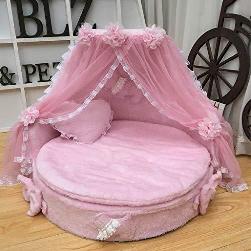 SSB Pbeds große Haustier Katze Schaum Bett Hund Prinzessin Bett bequem und weich geeignet für Indoor-Hunde/Katzen/Haustiere (Color : Pink)