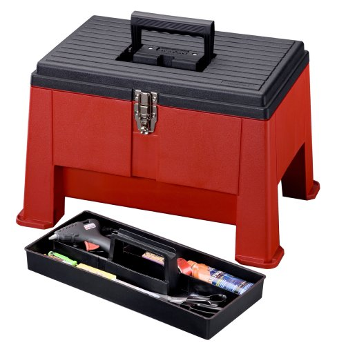 Image of Stack-On SSR-20 Step 'N Stor Step Stool, Black/Red by Stack-On