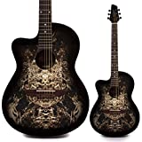 Lindo Linkshänder 933C 'Alien' schwarz Akustische Gitarre & Gigbag | Kostenlose Express Zustellung