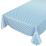 Mantel de hule encerado a cuadros lavable para mesa, toalla, azul, 100 x 140cm