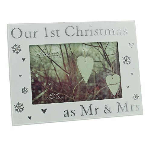 Our 1st Christmas as Mr & Mrs 6 x 4 Photo Frame with hearts & snowflakes by Amore