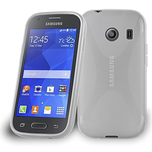 Cadorabo Hülle kompatibel mit Samsung Galaxy ACE Style Hülle in HALB TRANSPARENT Handyhülle aus flexiblem TPU Silikon im X-Line Silikon Schutzhülle