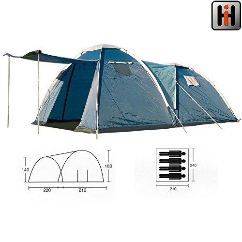 220+210x240cm Doppeltes Iglu Zelt für 4 Personen, wasserdicht 2000PU: 430x240 Camping Zelte Outdoor Familienzelt Igluzelt