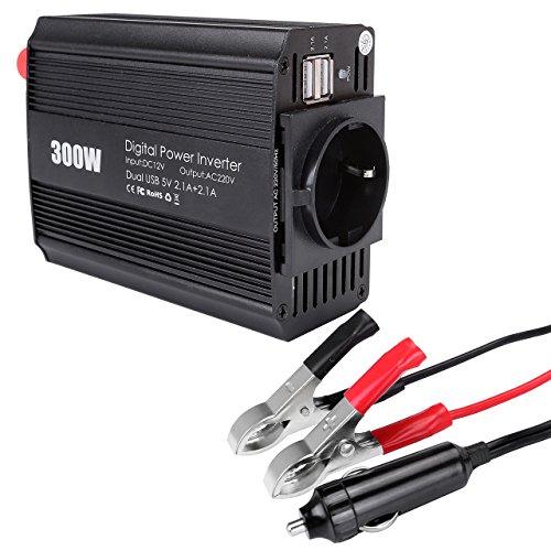 Graceme 300W Convertisseur Solaire DC 12V AC 220V Transformateur de Tension Dual Chargeur USB Ports 5V/2.1A Attaches de Batterie de Voiture et Chargeur de Voiture Camping Car Auto