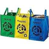 3 Sacs de tri sélectif Papier plastique verre Bleu jaune et vert Plastique Avec anses de transport Bazardeluxe