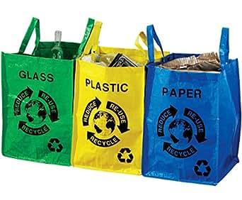 3 sacs de tri s lectif papier plastique verre bleu jaune et vert plastique avec anses de. Black Bedroom Furniture Sets. Home Design Ideas