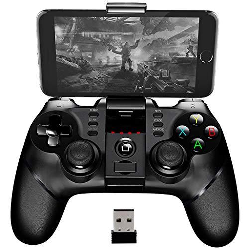 EUCoo Gamepad Mobile Gamepad Bluetooth Quick Game Controller Joystick kabellos mit Empfänger 2,4 G, Joystick für Daumen Tablet & Smartphone schwarz Schwarz FACA