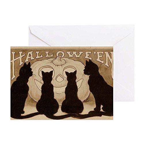 oween schwarz-Katzen–Grußkarte, Note Karte, Geburtstagskarte, innen blanko, matt (Scary Halloween-jack O Laternen)
