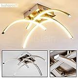 Elegante Deckenlampe mit Leucht-Armen und LED-Lichtleisten – Designer-Lampe mit warmweißem Licht – Wohnzimmerlampe aus Metall im futuristischen Design