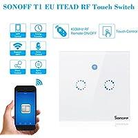 SONOFF Interruptor Inteligente de Pared T1 EU ITEAD Interruptor Inalámbrico WiFi Táctil 433MHz RF APP Control Remoto Función de Sincronización Soporte Amazon Alexa Smart Home, 2 Gang