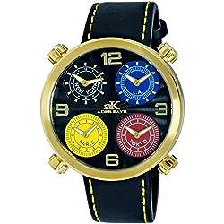 Adee Kaye Zone Herren Schwarz Leder Armband Edelstahl Gehäuse Uhr AK2275-MG