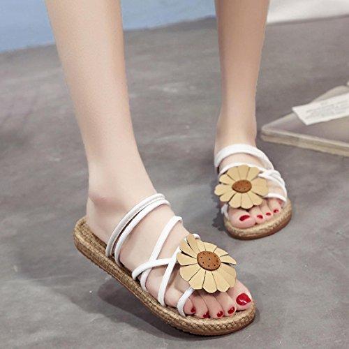 Transer ® Femmes Bohème fleurs Flip sandales Comfort été Flat sandales Flip tongs Blanc