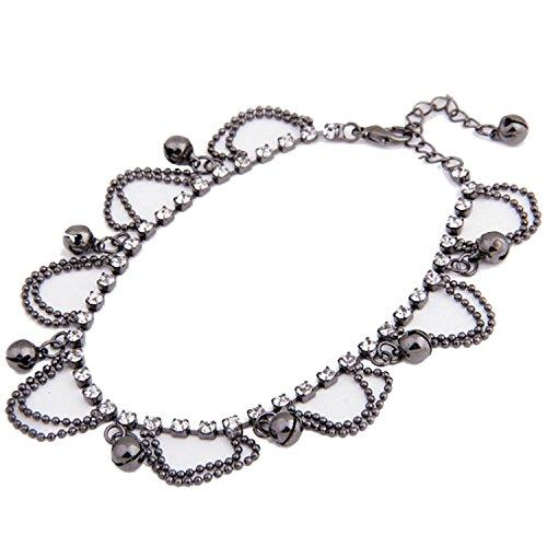 TOOGOOR-negro-cristal-pendiente-campanas-cadena-tobillera-tobillo-Pulsera-HOT