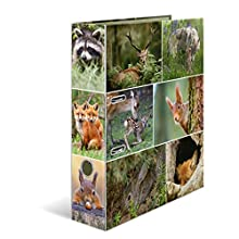 HERMA Lever Arch File Animals with Forest Animals Motif, A4, 70 mm Spine, with Inner Print, 1 Folder