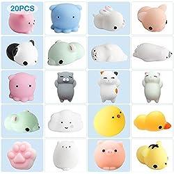 Kawaii Squishies Animals Set de 20 piezas de peluches de peluche de liberación suave y esponjosa, juguete de estrés que aumenta lentamente, perfecto para dormitorio y oficina, regalos para niños y adultos