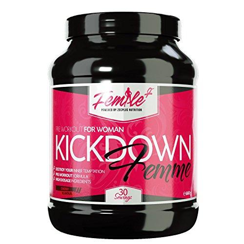 FEMALE+ Pre-Workout Booster KICKDOWN FEMME | Trainingsbooster | speziell für Frauen | gesteigerter Pump | gesteigerte Thermogenese | Antikatabole- und anabole Formel mit essentiellen Aminosäuren | BCAA | verzweigtkettige Aminosäuren | L-Carnitin | Cherry Flavour 660g