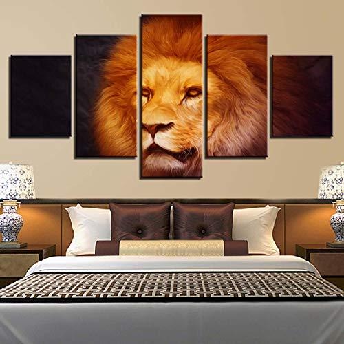 nwand 5 Stücke HD Drucke Lion Wandkunst Wilde Tier Leopard Modulare Bilder Arbeiten Kunstwerk Poster ()