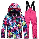 LSERVER Enfant Combinaison de Ski avec Salopette Veste de Ski Manteau Matelassée...