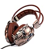 KINDEN Vibration Gaming Headset Virtual Surround-Sound 3,5 mm mit Mikrofon Kopfhörer Vibrationsfunktion Geräuschisolierung Lautstärkeregler Over-ear für PS4 XBox One PC Laptop Handy