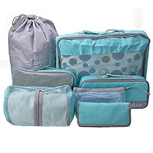 set 7 sac rangement organisateur pochette bagage v tements toilette linge voyage 7 taille. Black Bedroom Furniture Sets. Home Design Ideas