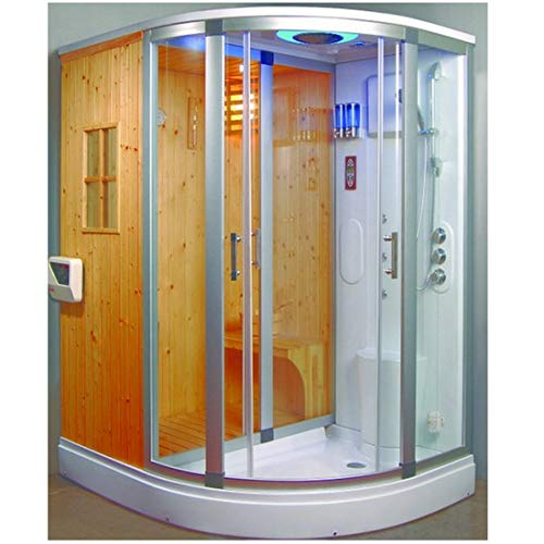 Cabina idromassaggio 170x130 box doccia multifunzione con bagno turco e sauna finlandese